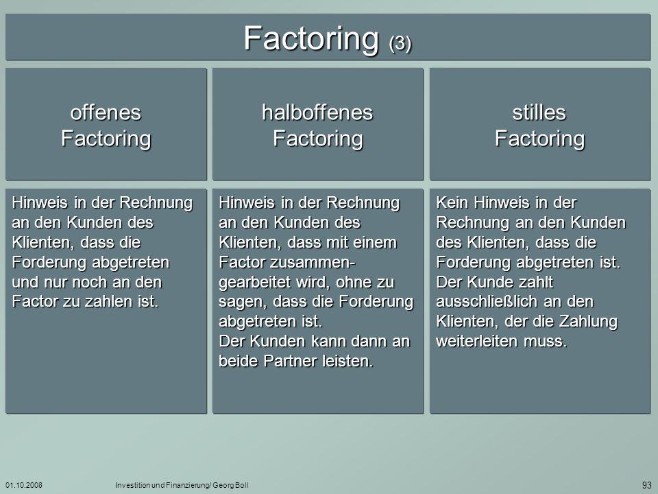 Factoring (3) offenes Factoring halboffenes Factoring stilles