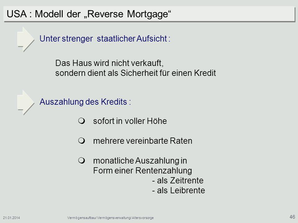 "USA : Modell der ""Reverse Mortgage"