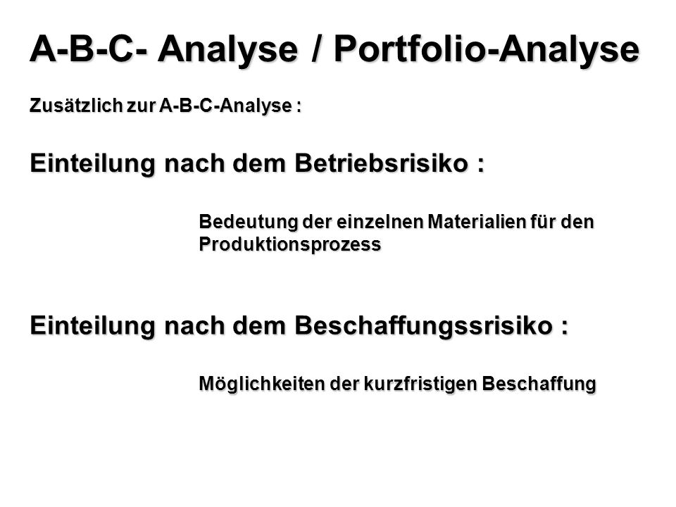 A-B-C- Analyse / Portfolio-Analyse
