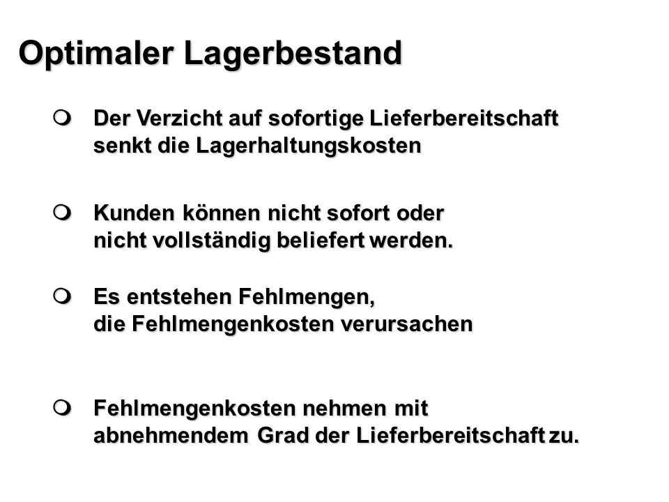 Optimaler Lagerbestand