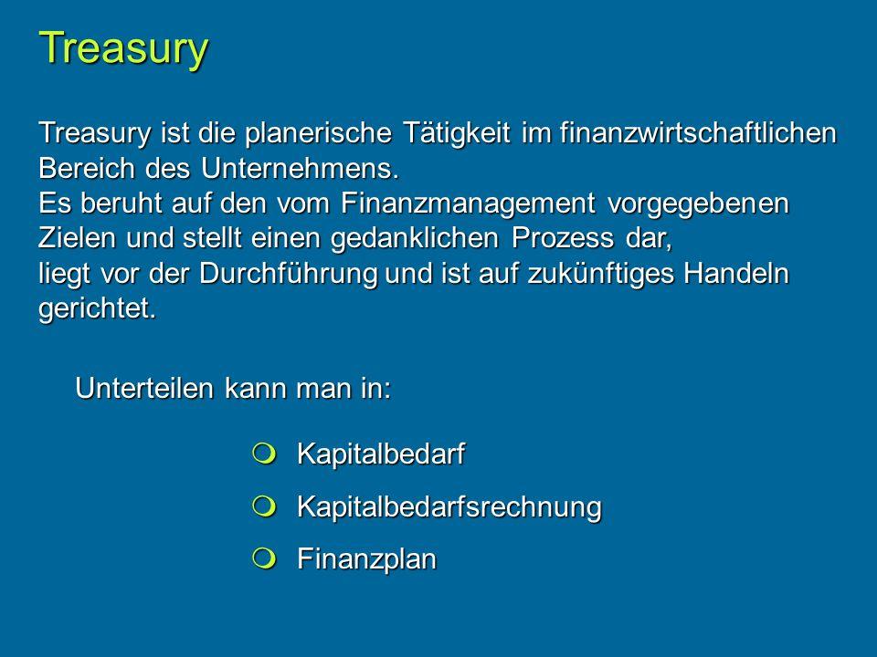 Treasury Treasury ist die planerische Tätigkeit im finanzwirtschaftlichen Bereich des Unternehmens.