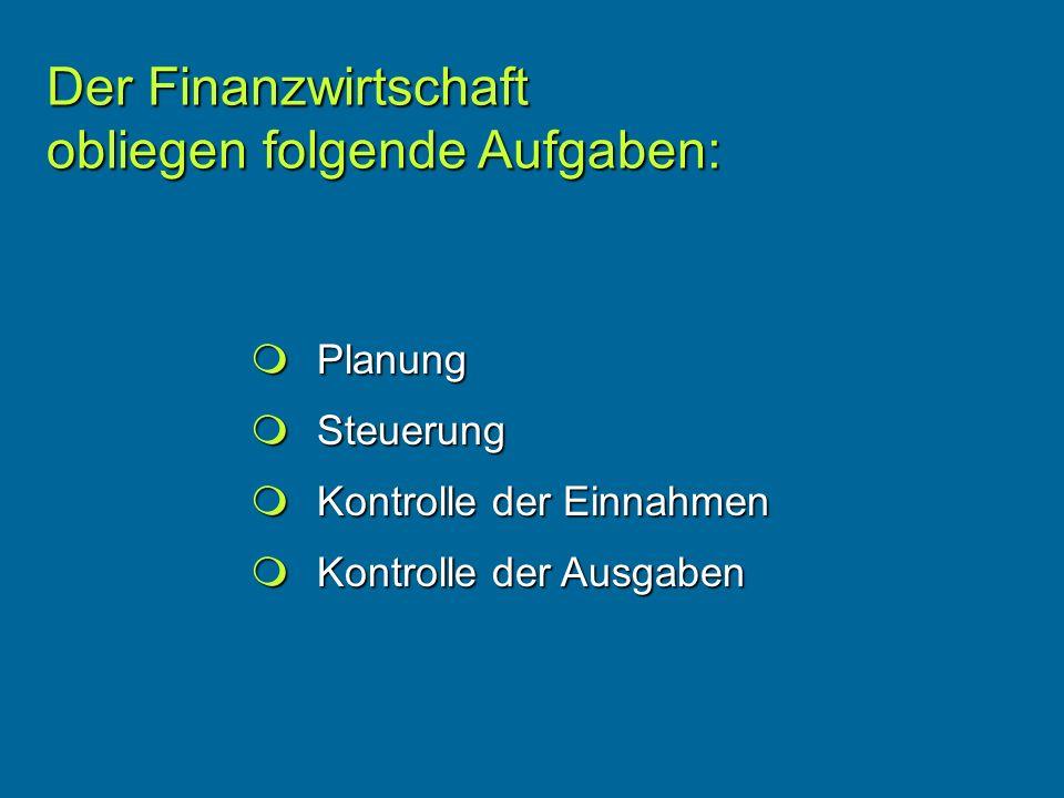Der Finanzwirtschaft obliegen folgende Aufgaben:
