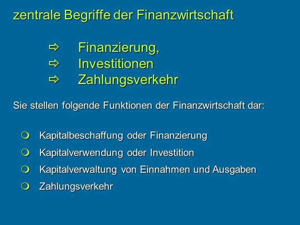 zentrale Begriffe der Finanzwirtschaft
