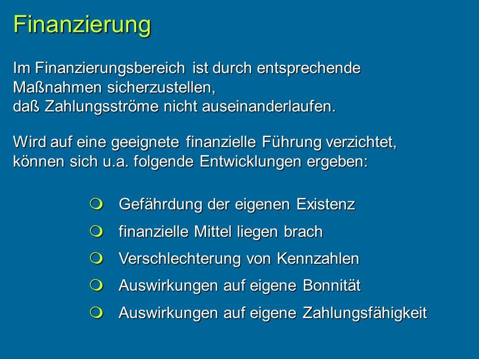 Finanzierung Im Finanzierungsbereich ist durch entsprechende Maßnahmen sicherzustellen, daß Zahlungsströme nicht auseinanderlaufen.