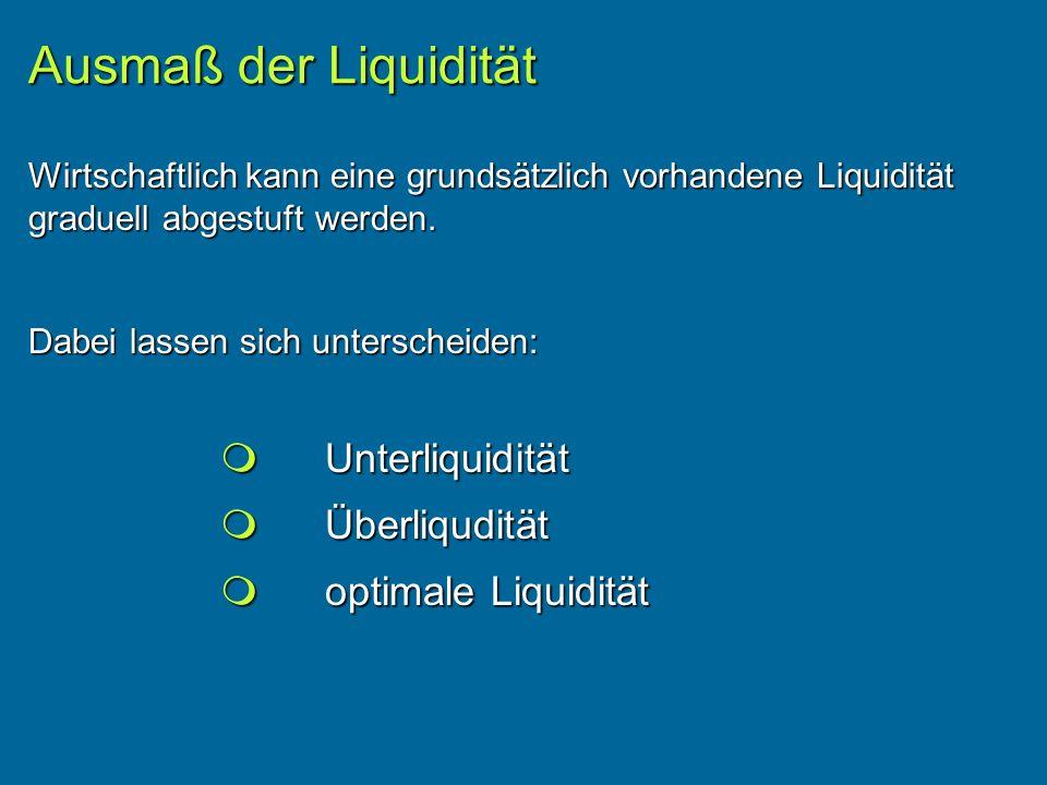 Ausmaß der Liquidität  Unterliquidität  Überliqudität