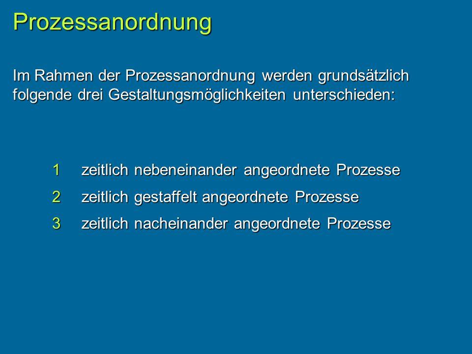 Prozessanordnung Im Rahmen der Prozessanordnung werden grundsätzlich