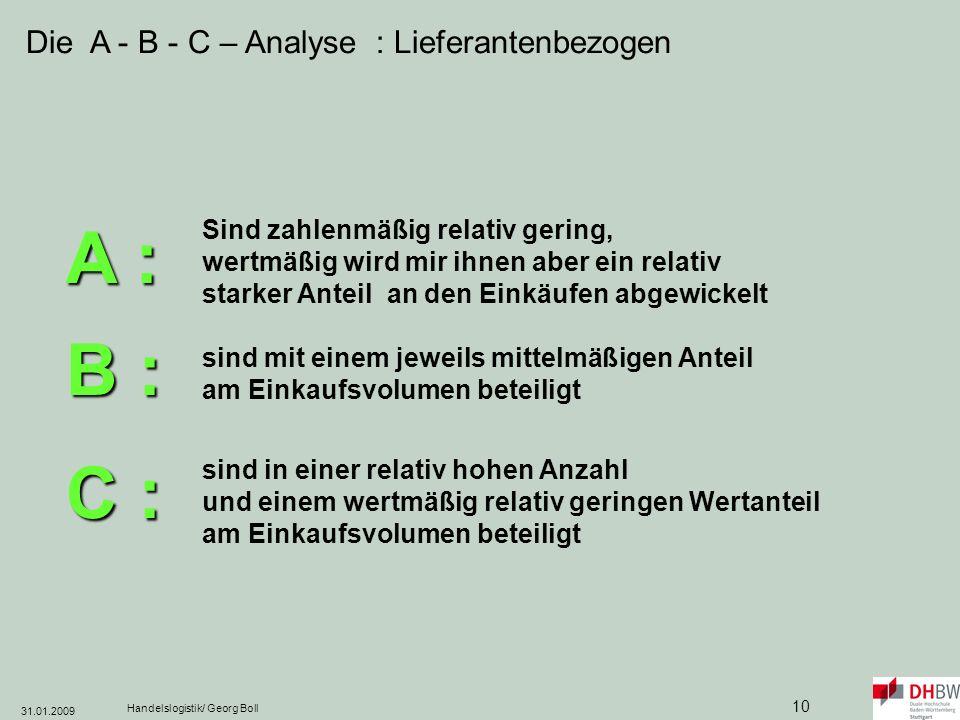 A : B : C : Die A - B - C – Analyse : Lieferantenbezogen