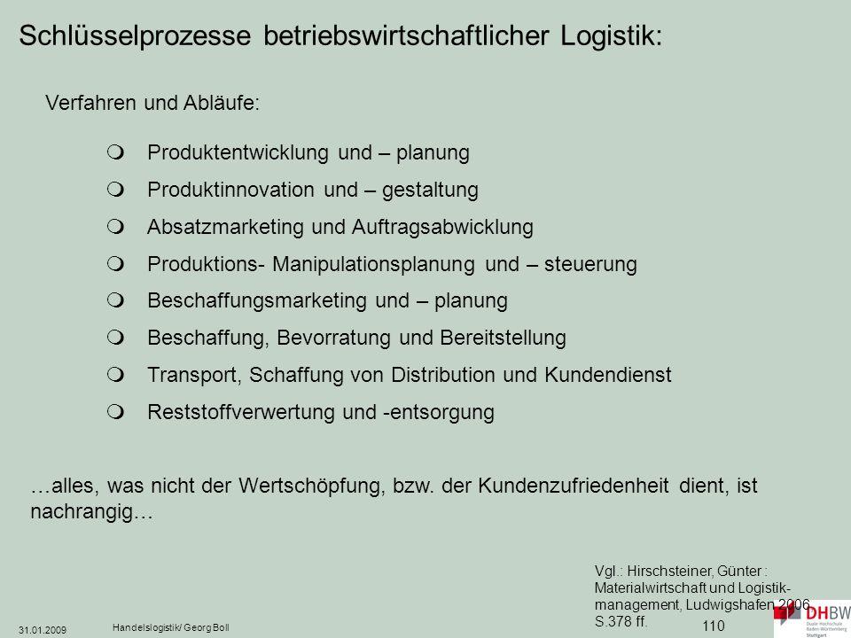 Schlüsselprozesse betriebswirtschaftlicher Logistik: