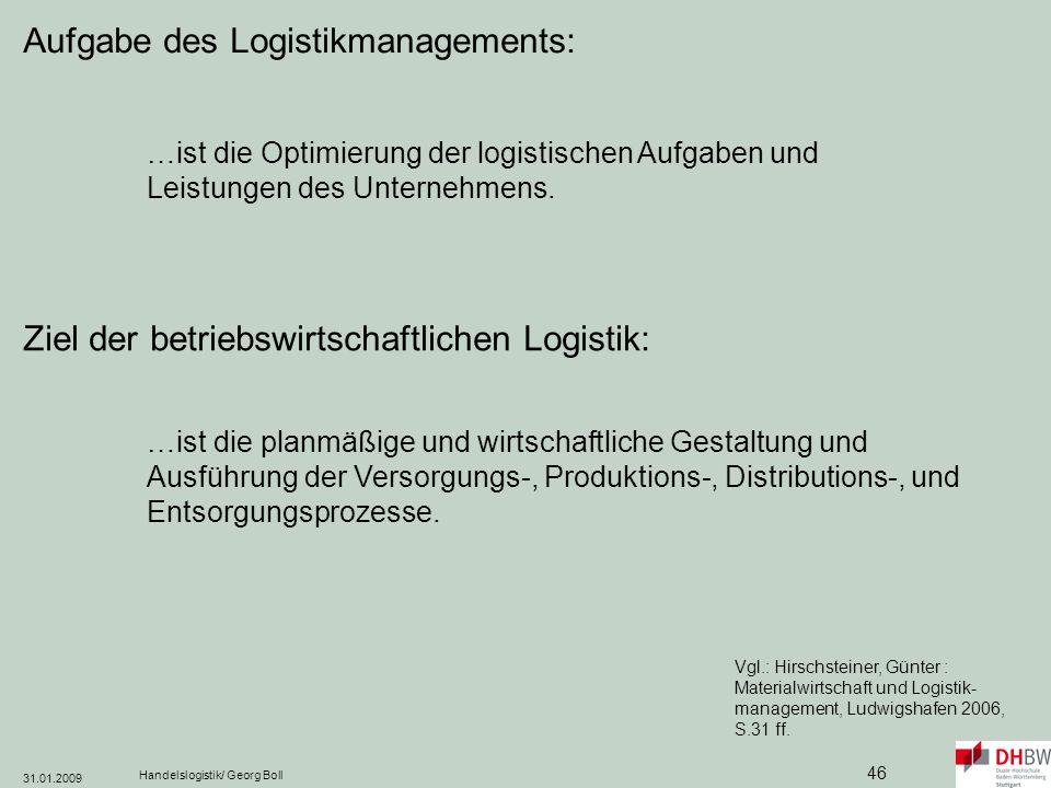 Aufgabe des Logistikmanagements: