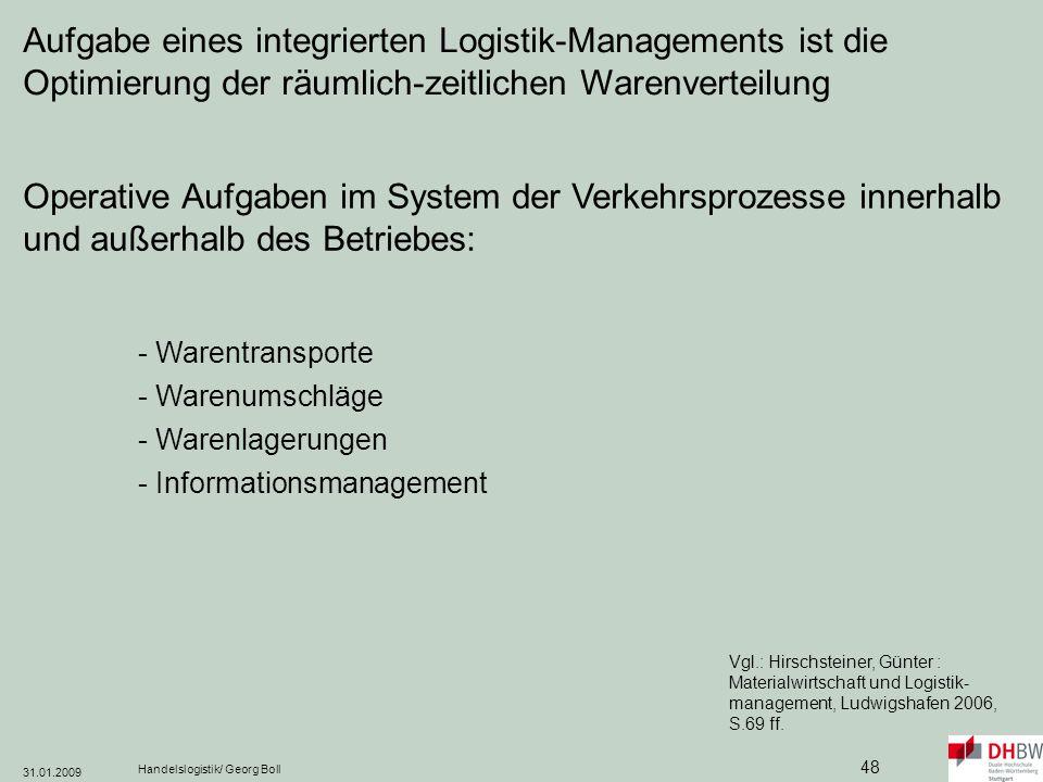 Aufgabe eines integrierten Logistik-Managements ist die Optimierung der räumlich-zeitlichen Warenverteilung