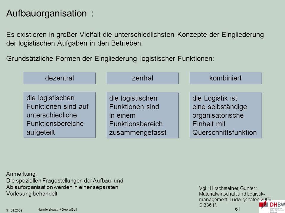 Aufbauorganisation : Es existieren in großer Vielfalt die unterschiedlichsten Konzepte der Eingliederung der logistischen Aufgaben in den Betrieben.