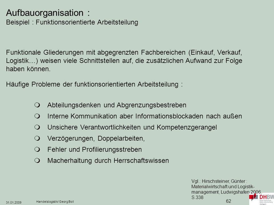 Aufbauorganisation : Beispiel : Funktionsorientierte Arbeitsteilung