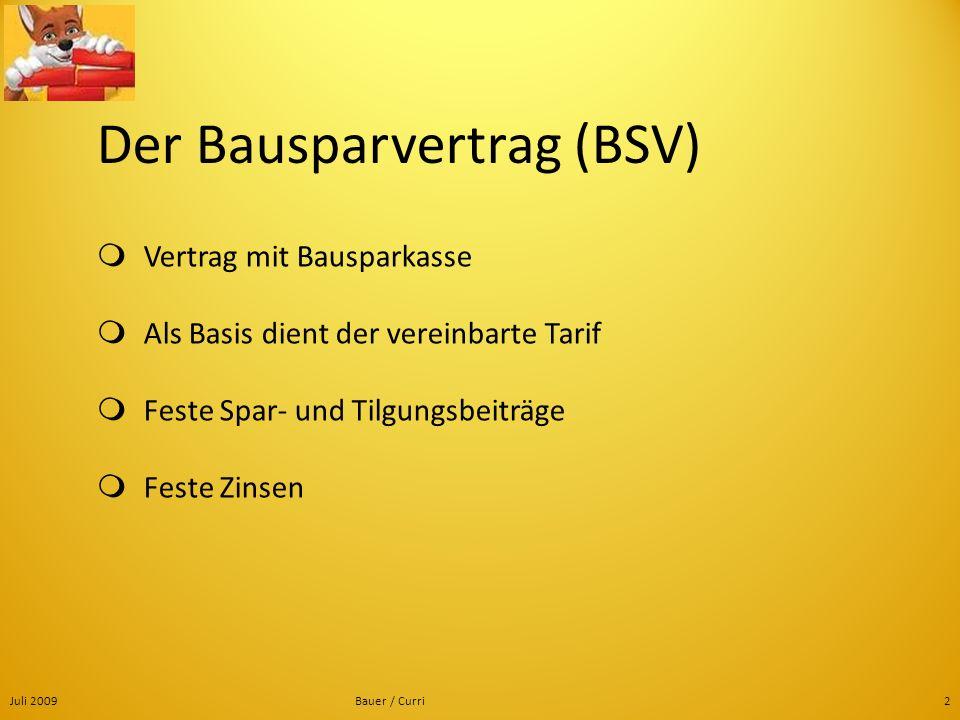 Der Bausparvertrag (BSV)