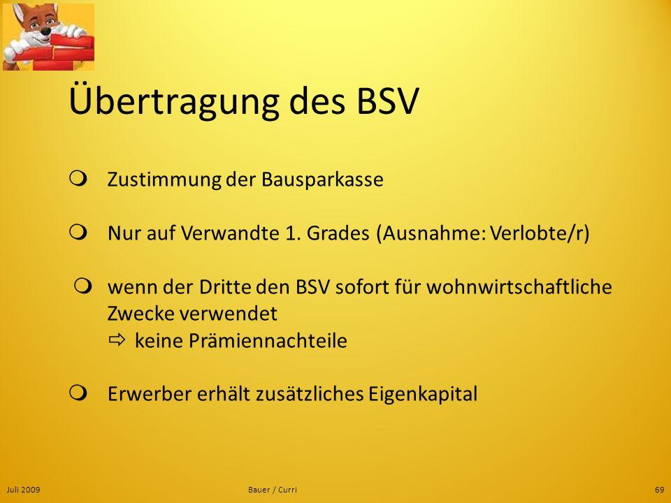 Übertragung des BSV  Zustimmung der Bausparkasse