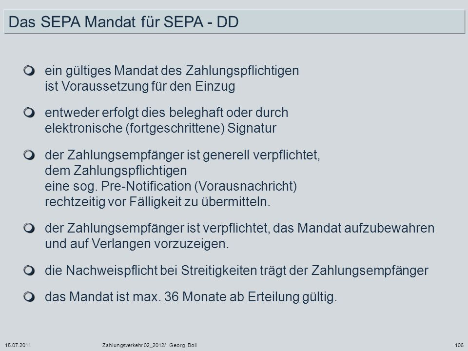 Das SEPA Mandat für SEPA - DD