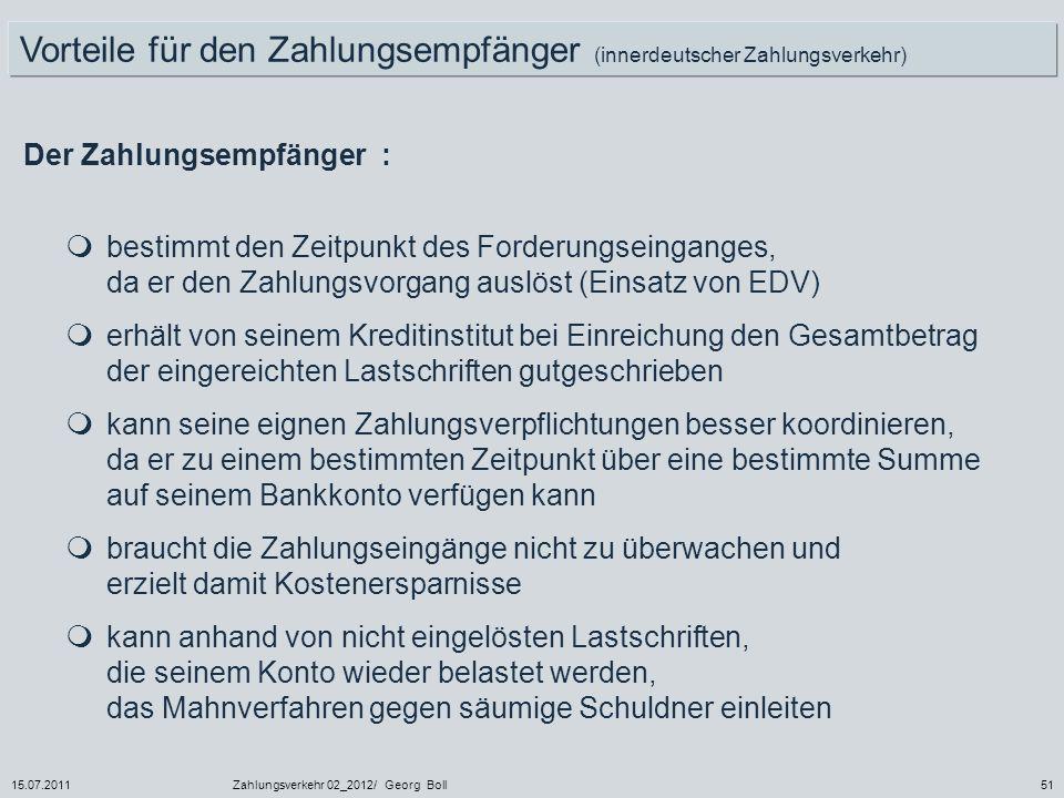 Vorteile für den Zahlungsempfänger (innerdeutscher Zahlungsverkehr)