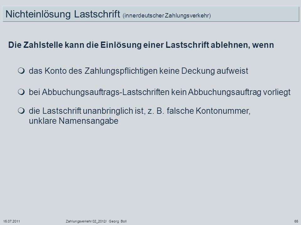 Nichteinlösung Lastschrift (innerdeutscher Zahlungsverkehr)