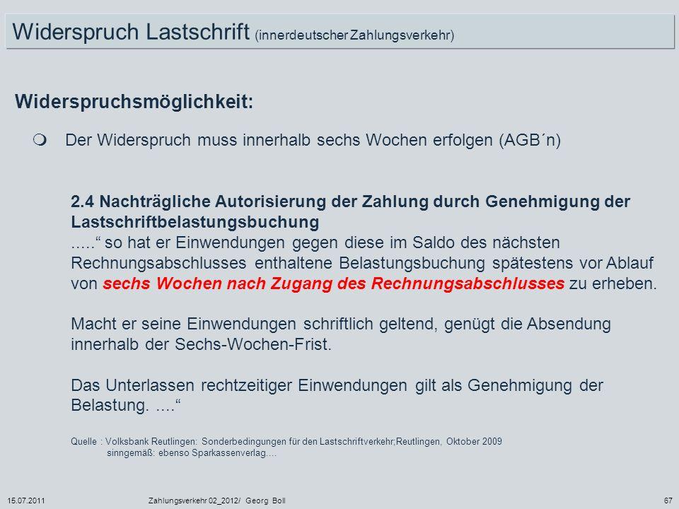 Widerspruch Lastschrift (innerdeutscher Zahlungsverkehr)