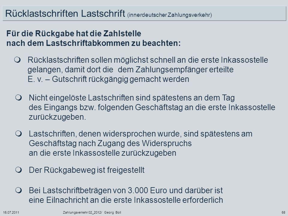 Rücklastschriften Lastschrift (innerdeutscher Zahlungsverkehr)