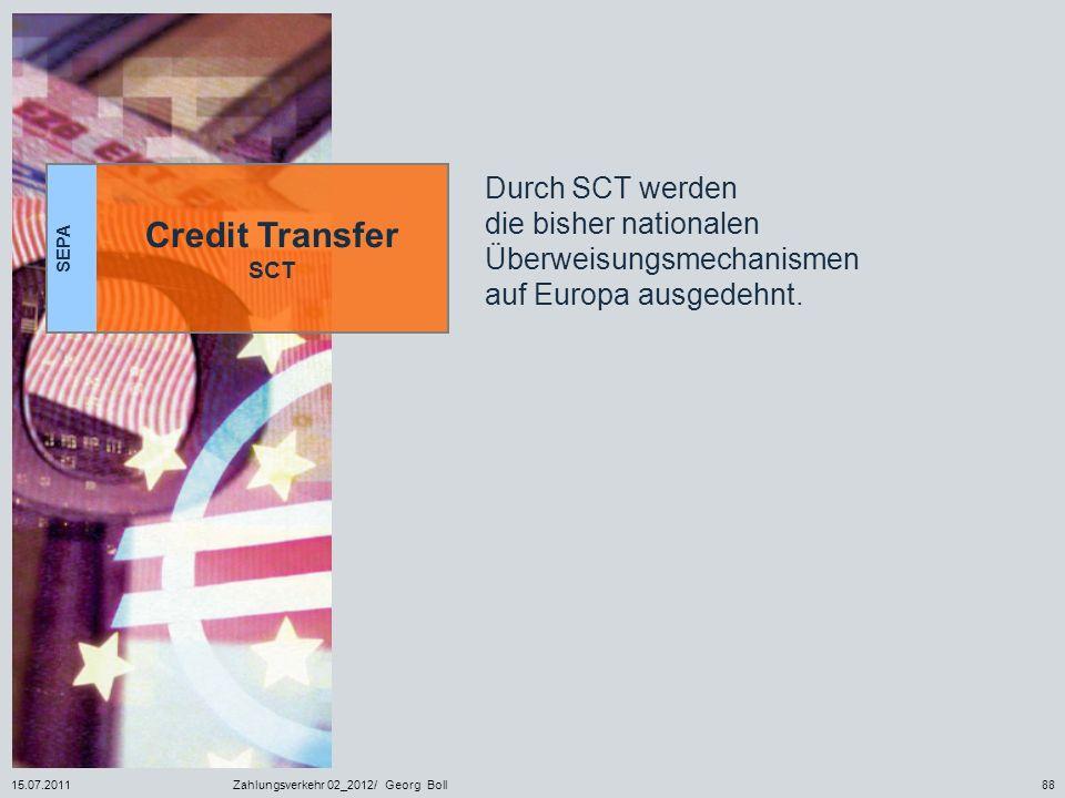 SEPA Credit Transfer SCT. Durch SCT werden die bisher nationalen Überweisungsmechanismen auf Europa ausgedehnt.