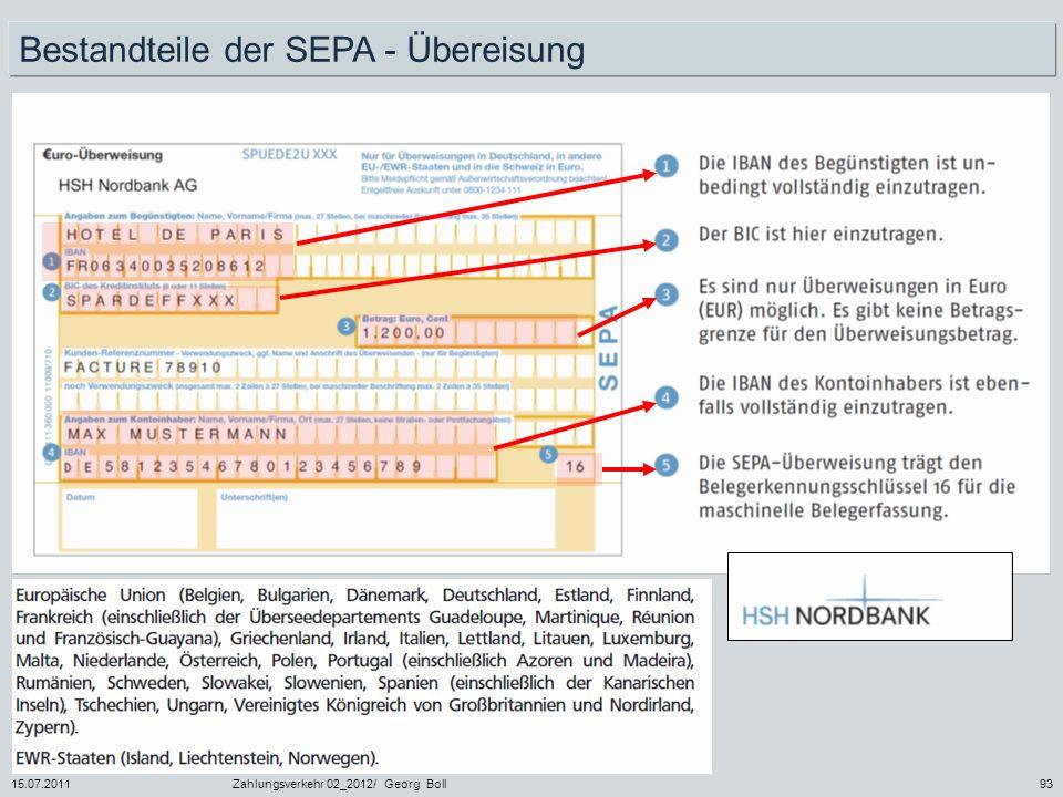 Bestandteile der SEPA - Übereisung