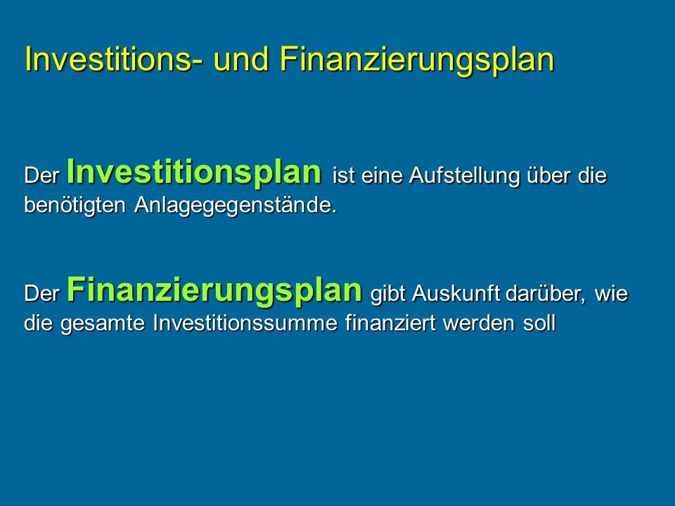 Investitions- und Finanzierungsplan