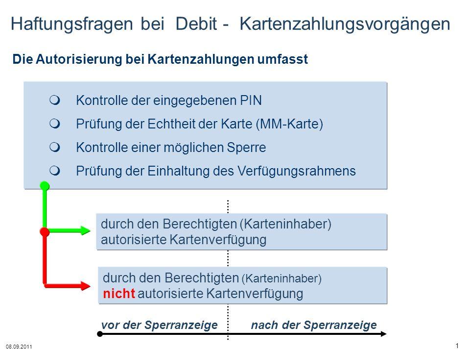 Haftungsfragen bei Debit - Kartenzahlungsvorgängen