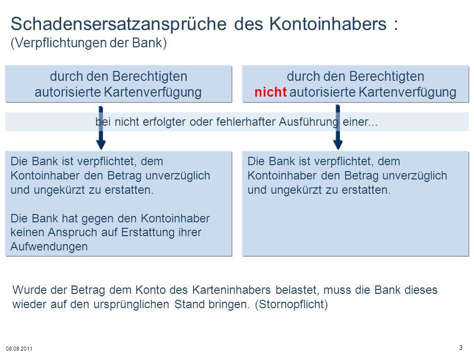 Schadensersatzansprüche des Kontoinhabers : (Verpflichtungen der Bank)