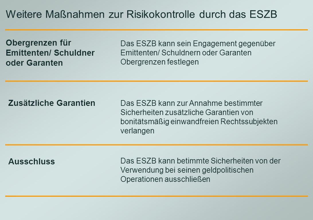 Weitere Maßnahmen zur Risikokontrolle durch das ESZB