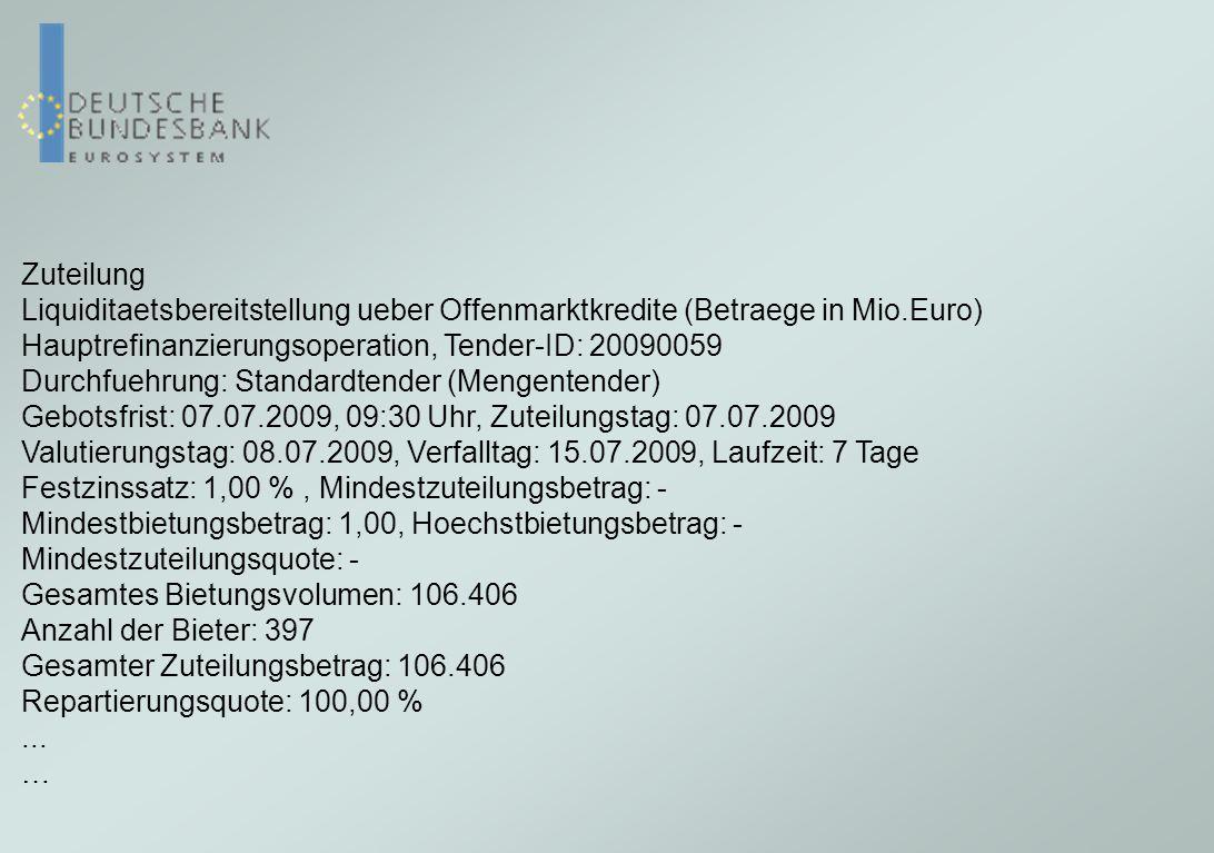 Zuteilung Liquiditaetsbereitstellung ueber Offenmarktkredite (Betraege in Mio.Euro) Hauptrefinanzierungsoperation, Tender-ID: 20090059.