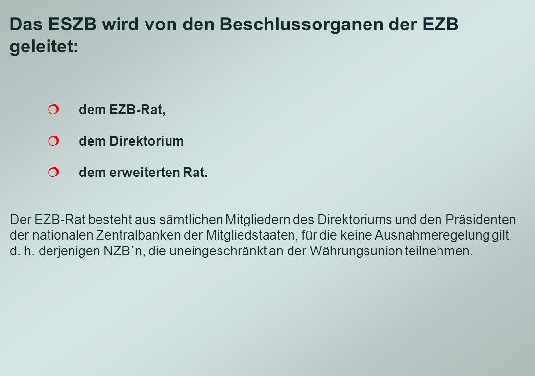 Das ESZB wird von den Beschlussorganen der EZB geleitet: