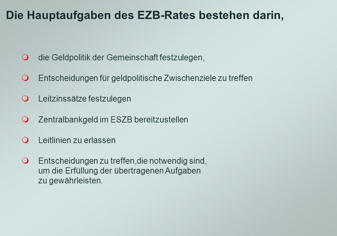 Die Hauptaufgaben des EZB-Rates bestehen darin,