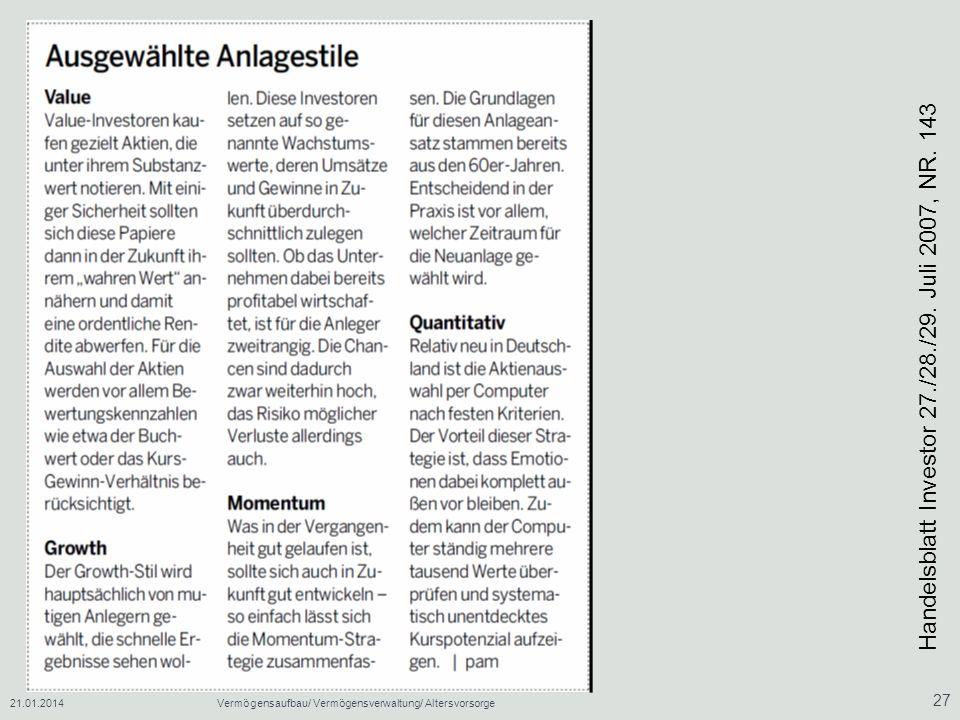 Handelsblatt Investor 27./28./29. Juli 2007, NR. 143