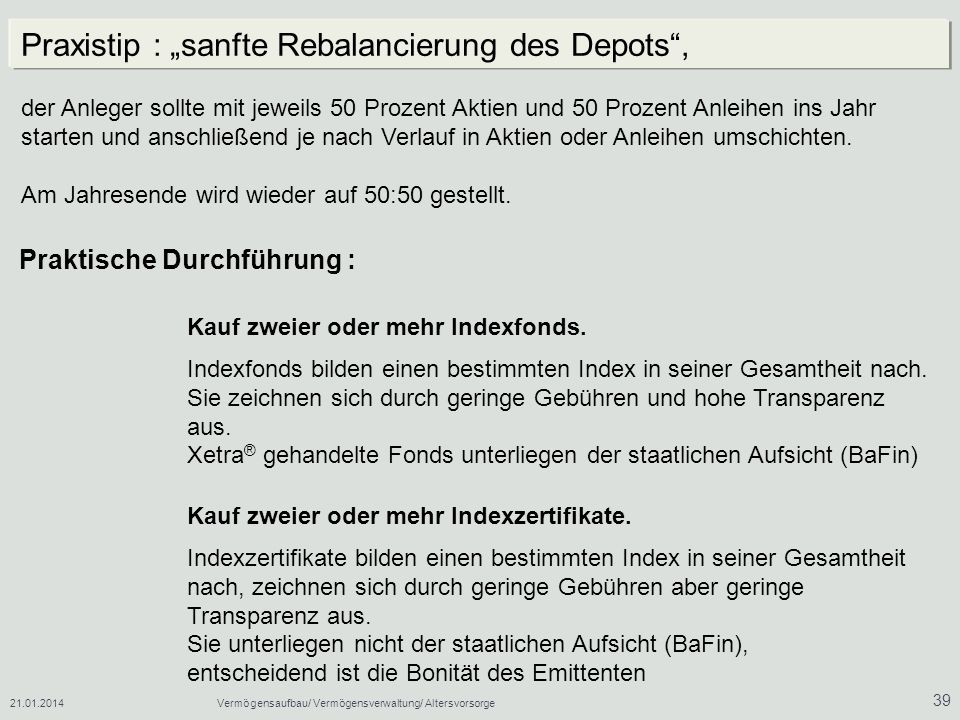 "Praxistip : ""sanfte Rebalancierung des Depots ,"