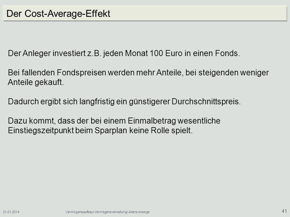 Der Cost-Average-Effekt