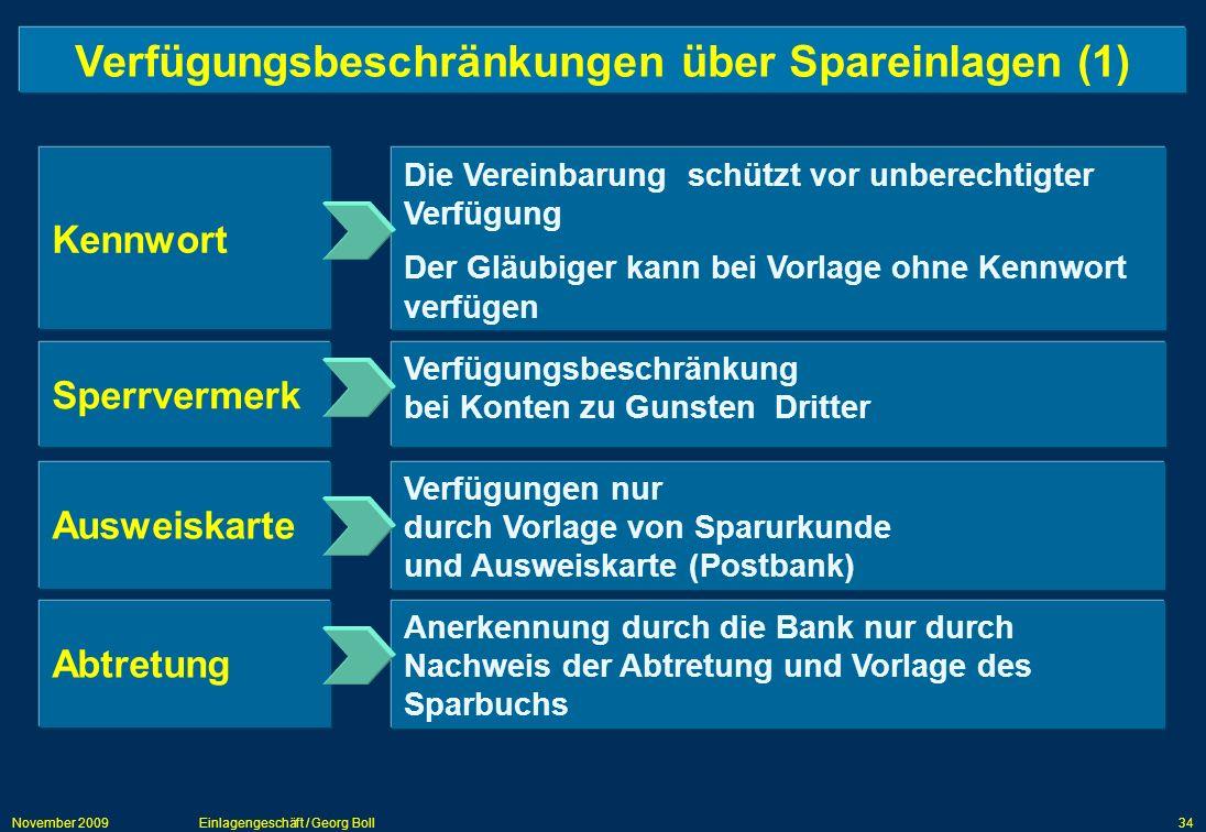 Verfügungsbeschränkungen über Spareinlagen (1)