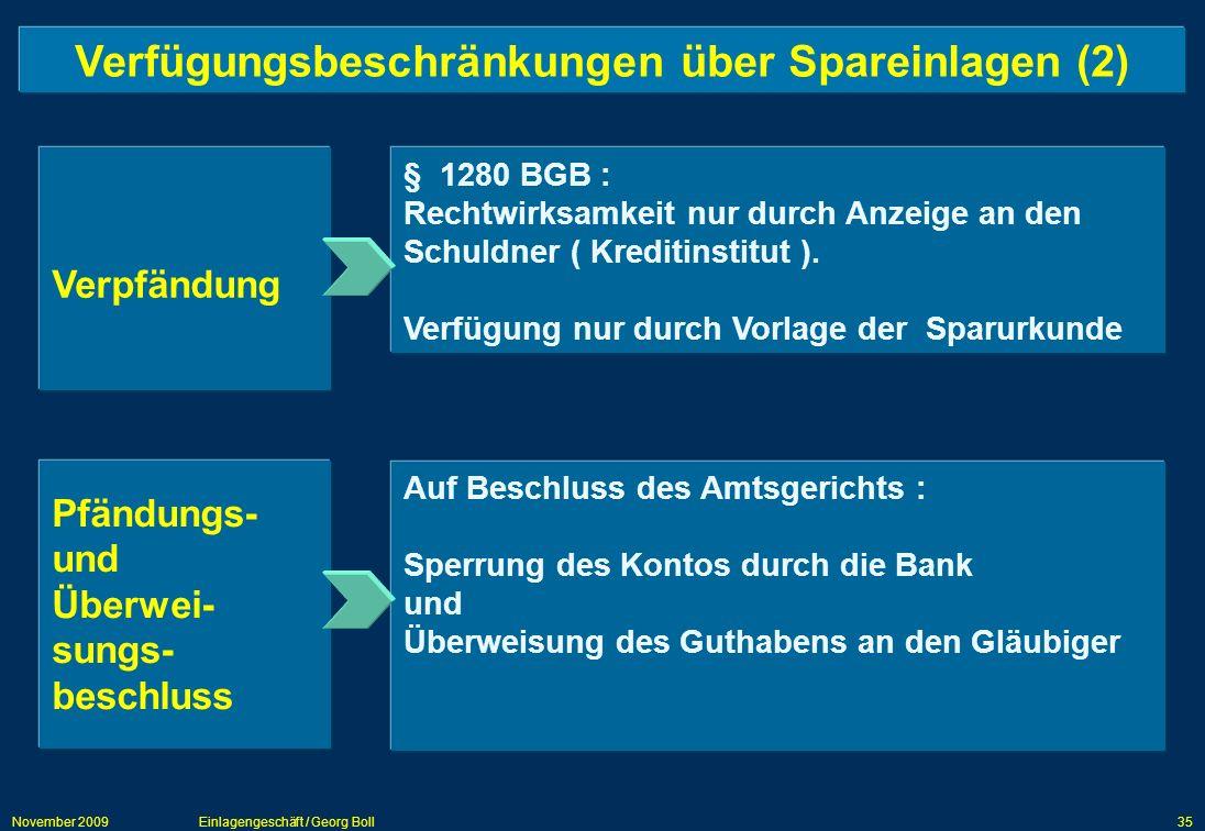 Verfügungsbeschränkungen über Spareinlagen (2)