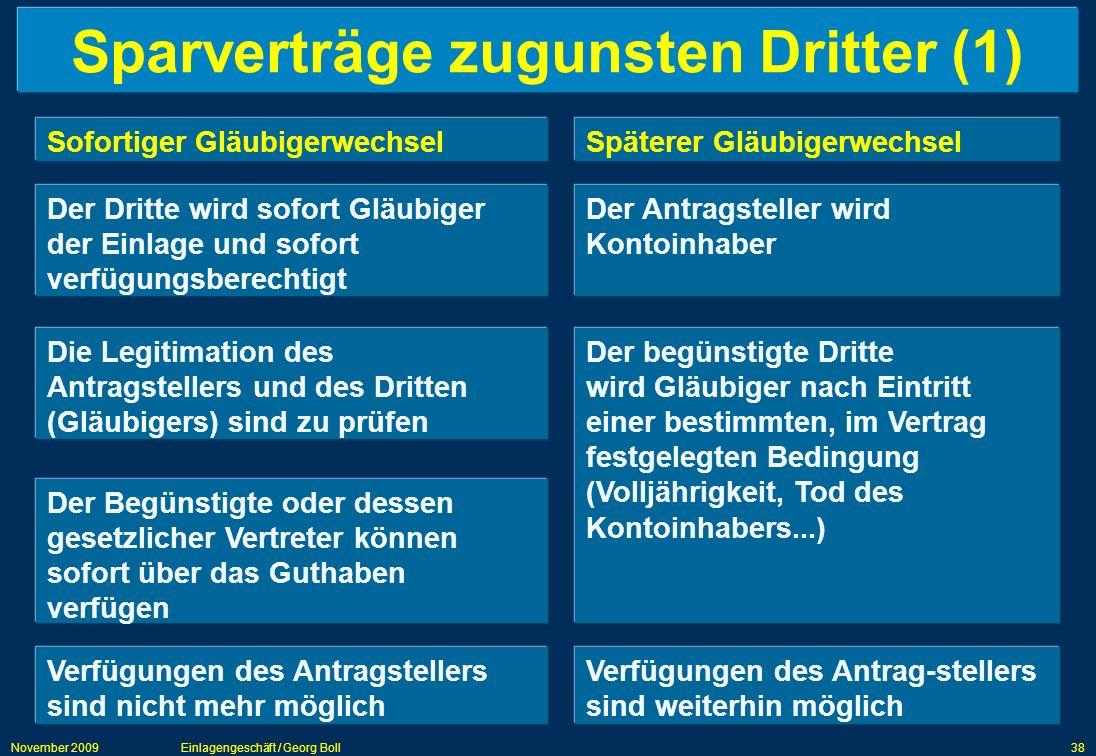 Sparverträge zugunsten Dritter (1)