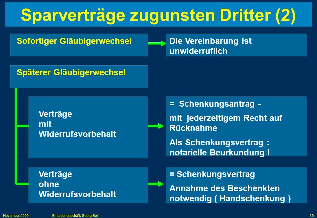 Sparverträge zugunsten Dritter (2)