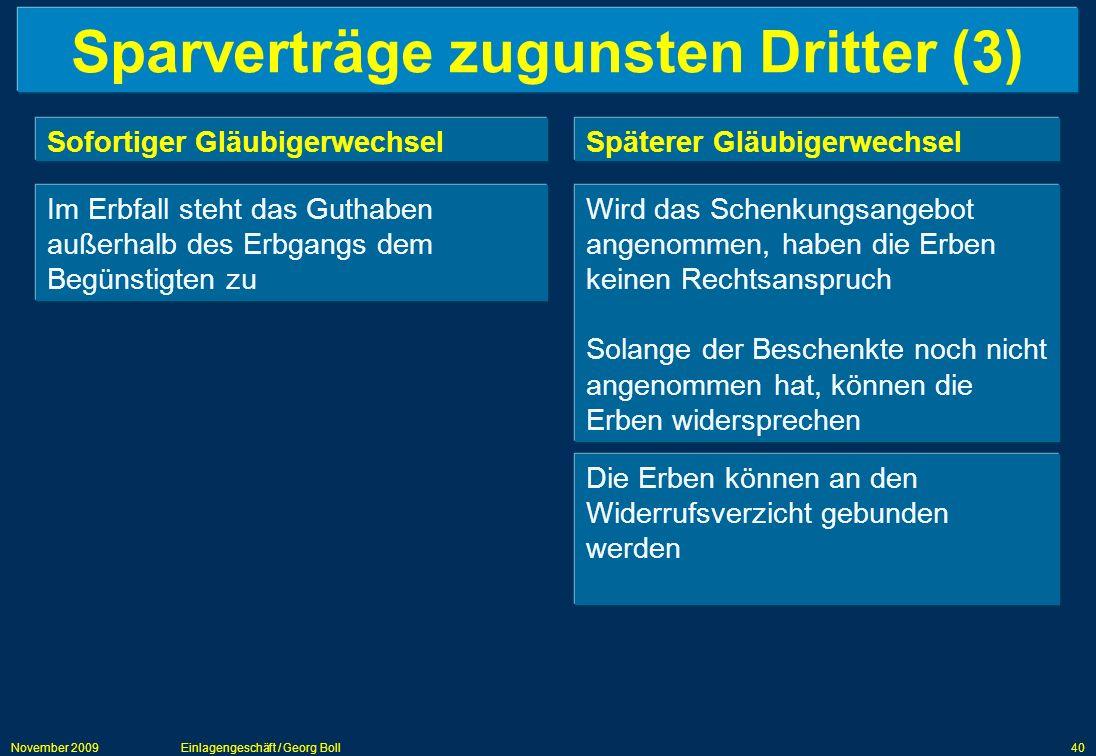Sparverträge zugunsten Dritter (3)