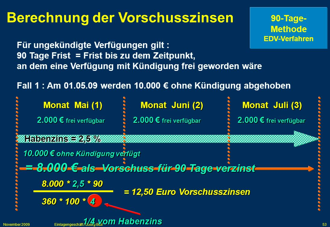 Berechnung der Vorschusszinsen