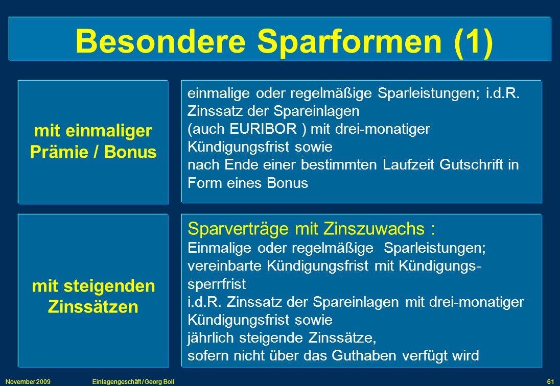 Besondere Sparformen (1)