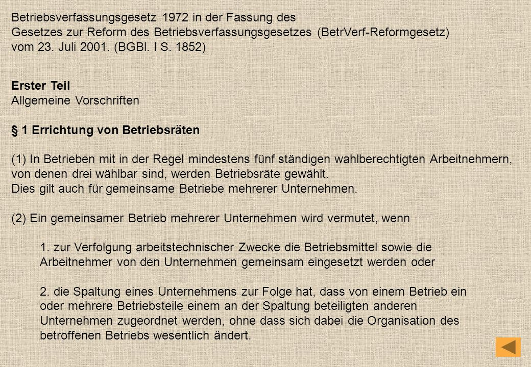 Betriebsverfassungsgesetz 1972 in der Fassung des