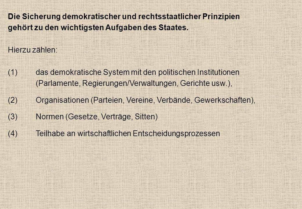 Die Sicherung demokratischer und rechtsstaatlicher Prinzipien gehört zu den wichtigsten Aufgaben des Staates.