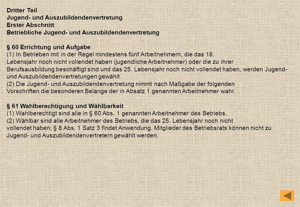 Dritter Teil Jugend- und Auszubildendenvertretung. Erster Abschnitt. Betriebliche Jugend- und Auszubildendenvertretung.