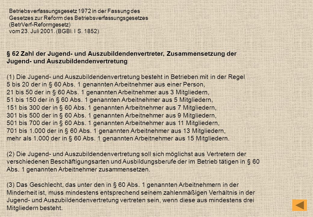 § 62 Zahl der Jugend- und Auszubildendenvertreter, Zusammensetzung der