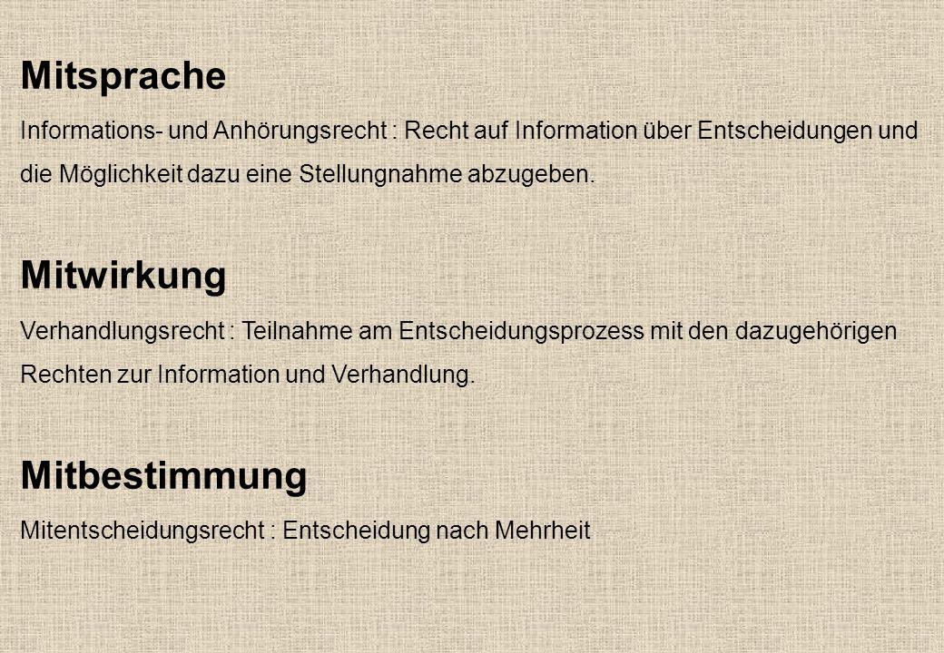 Mitsprache Informations- und Anhörungsrecht : Recht auf Information über Entscheidungen und die Möglichkeit dazu eine Stellungnahme abzugeben.