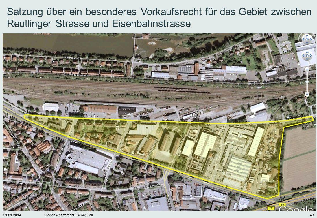 Satzung über ein besonderes Vorkaufsrecht für das Gebiet zwischen Reutlinger Strasse und Eisenbahnstrasse
