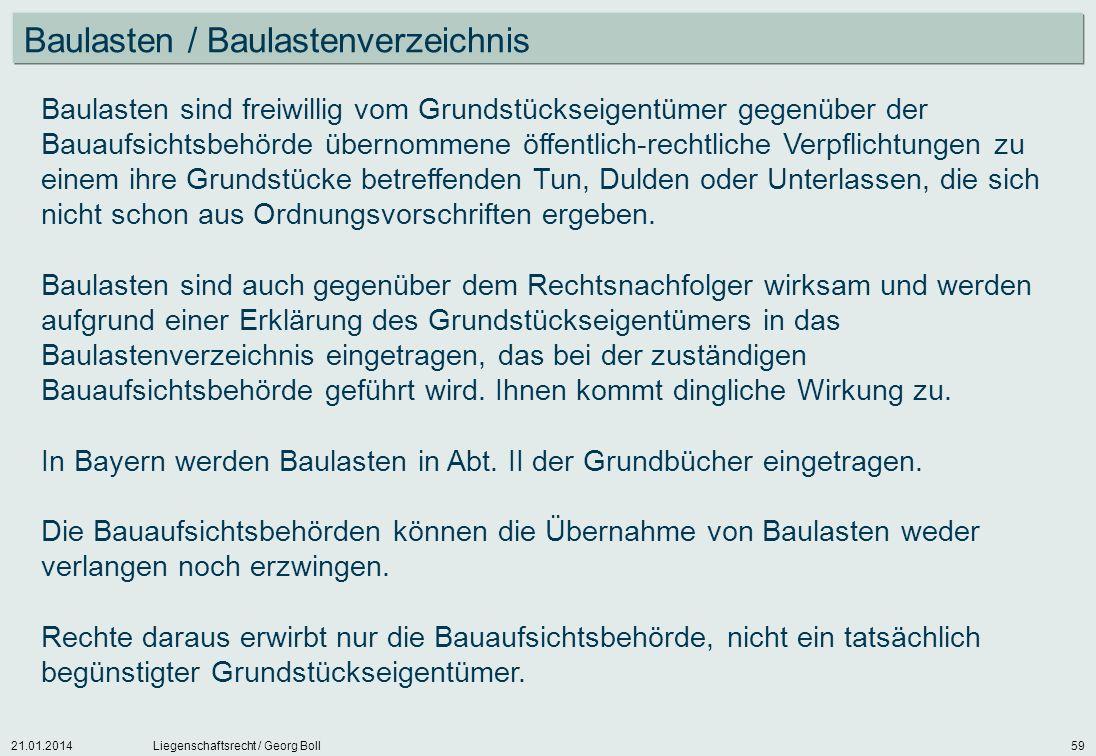 Baulasten / Baulastenverzeichnis