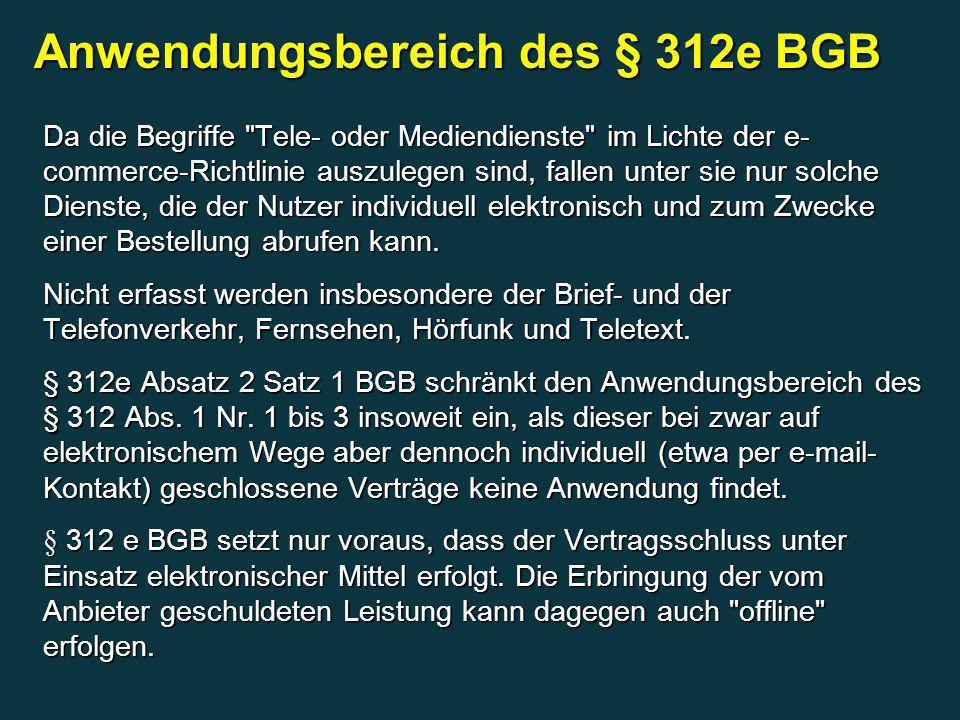 Anwendungsbereich des § 312e BGB